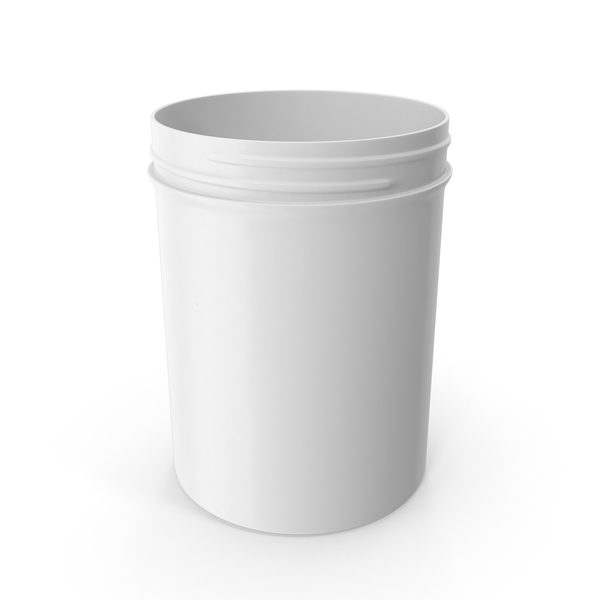 White Plastic Jar Wide Mouth Straight Sided 8oz Without Cap PNG & PSD Images