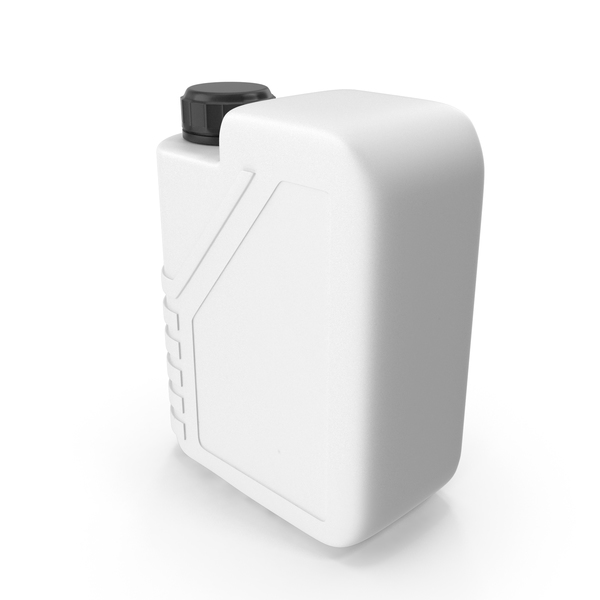 Fuel Can: White Plastic Jerrycan with Black Cap PNG & PSD Images
