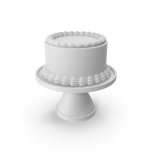 White Round Cake on a Stand PNG & PSD Images