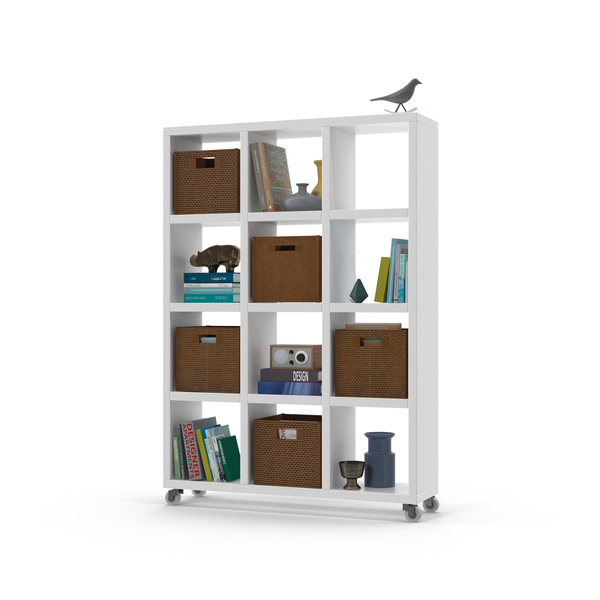 White Shelves, Wicker Boxes, Bird Sculpture and Books PNG & PSD Images