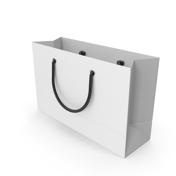 White Shopping Bag with Black Handles 1 PNG & PSD Images