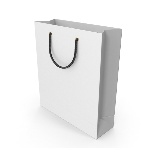 White Shopping Bag with Black Handles PNG & PSD Images