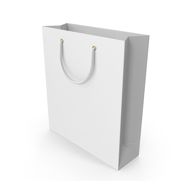 White Shopping Bag with White Handles PNG & PSD Images