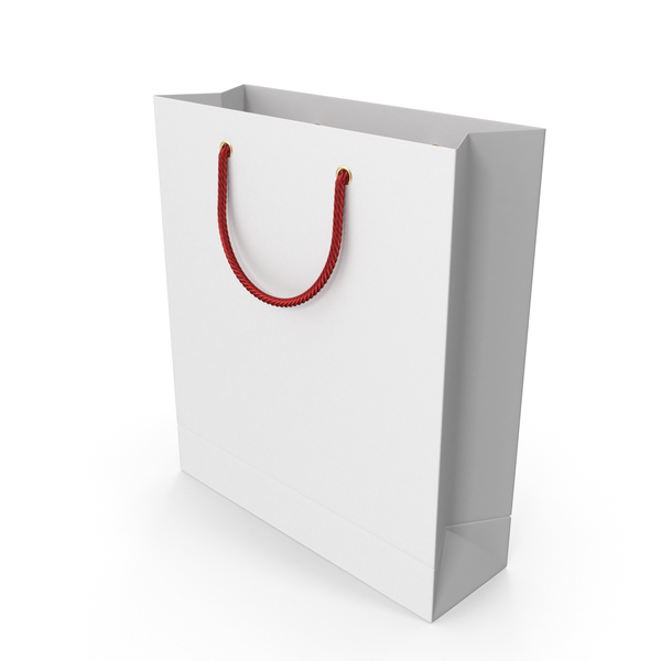 Gift: White Shopping Bag with Red Handles PNG & PSD Images