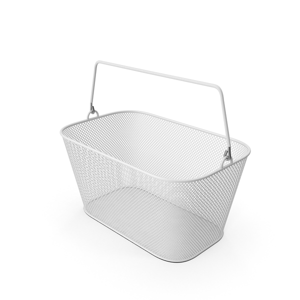 White Shopping Wire Mesh Basket PNG & PSD Images