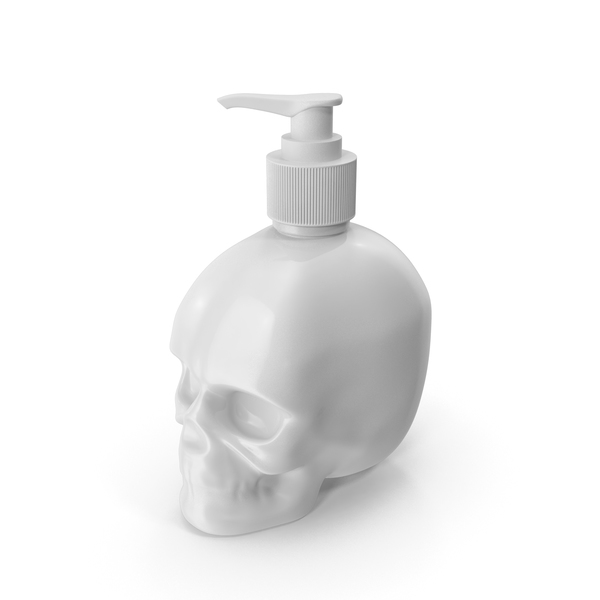 Sanitizer Dispenser: White Skull Bottle With White Pump PNG & PSD Images