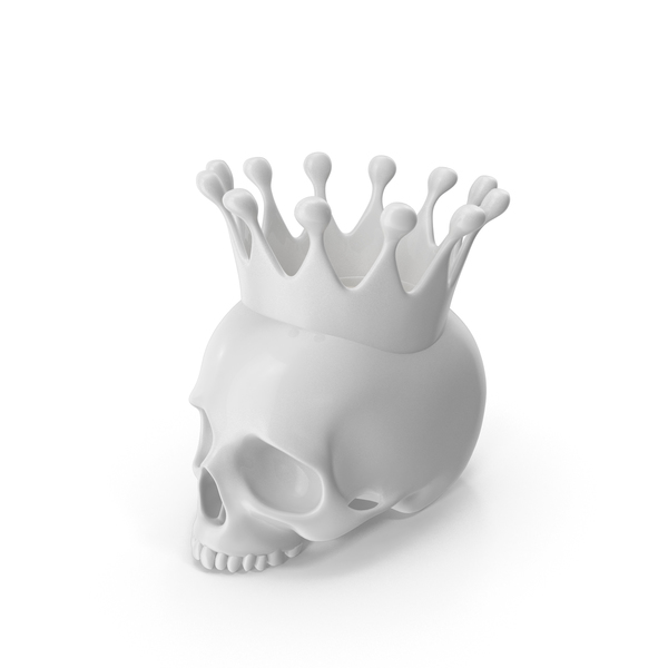 White Skull Head Candle with Crown PNG & PSD Images