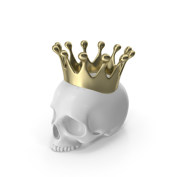 White Skull Head Candle with Gold Crown PNG & PSD Images