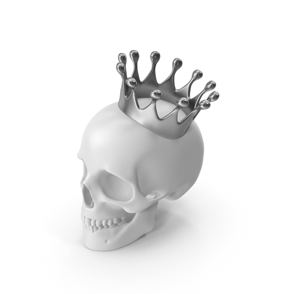White Skull With Silver Crown PNG & PSD Images