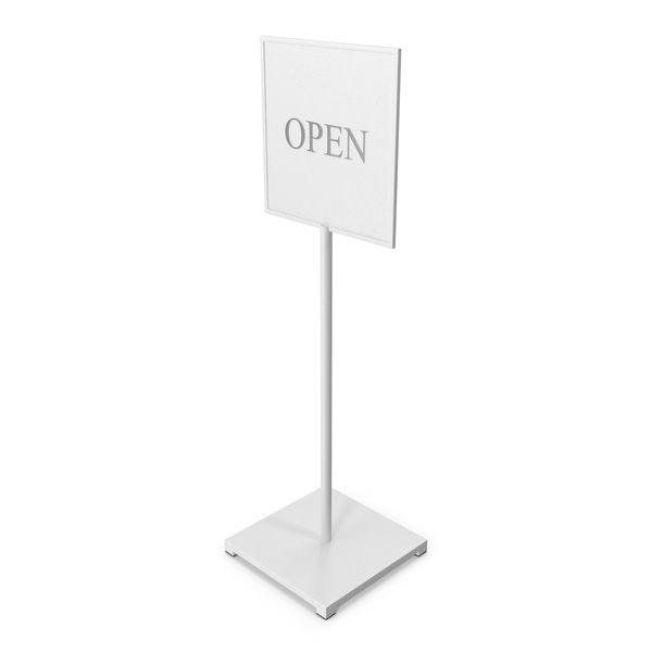 White Standing Sign Open Closed PNG & PSD Images