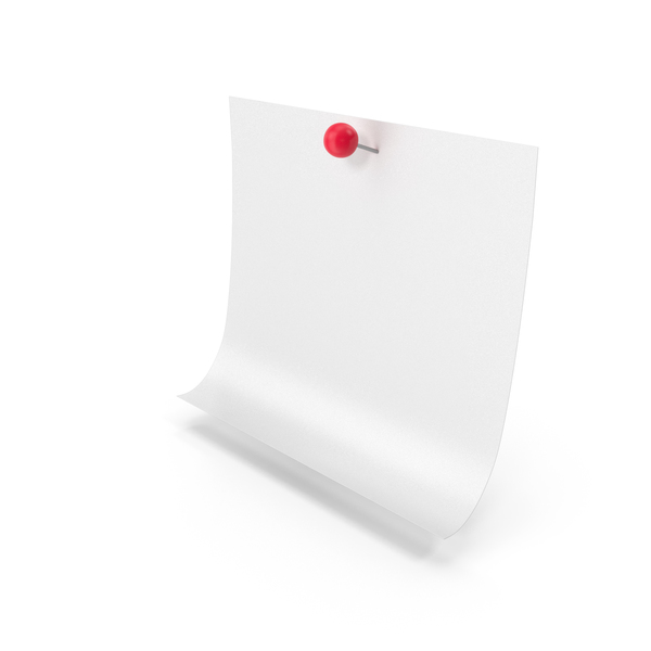 Office Supplies: White Sticky Note With Push Pin PNG & PSD Images