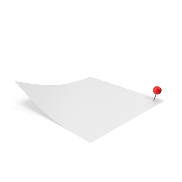 Office Supplies: White Sticky Note With Sphere Push Pin PNG & PSD Images