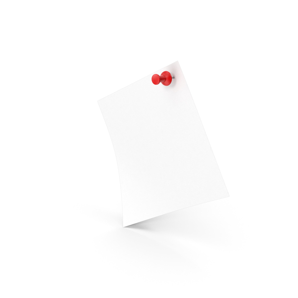 White Sticky Notes And Push Pin PNG & PSD Images
