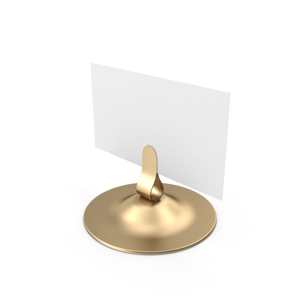 Place Card: White Table Sign Metallic Holder PNG & PSD Images