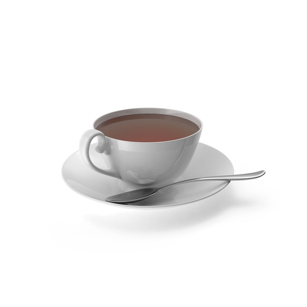 Teacup: White Tea Cup with Spoon PNG & PSD Images