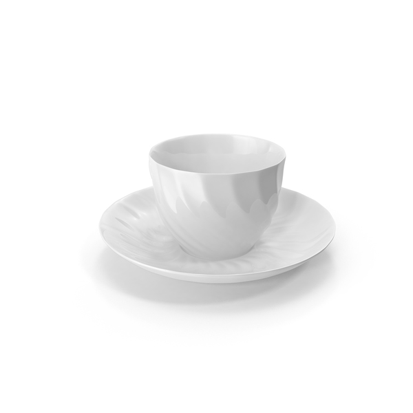 White Teacup and Saucer PNG & PSD Images