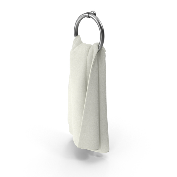 Bath: White Towel on Rack Object