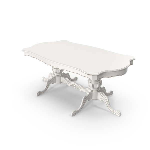 White Victorian Dinig Table PNG & PSD Images