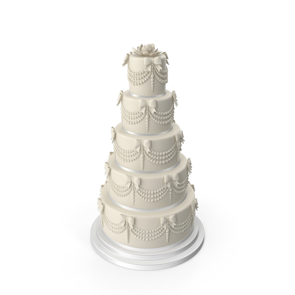 White Wedding Cake with Pearls and Bows PNG & PSD Images