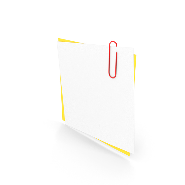 White & Yellow Papers With Paper Clip PNG & PSD Images