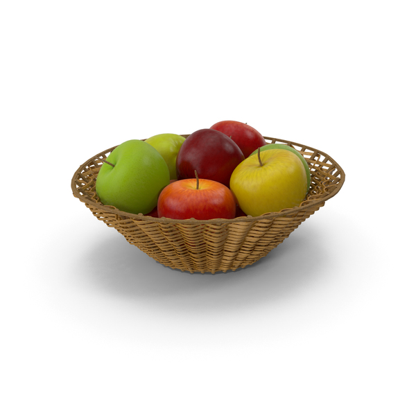 Wicker Basket with Apples PNG & PSD Images