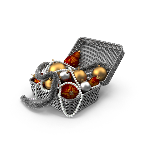 Wicker Basket with Christmas Ornaments PNG & PSD Images