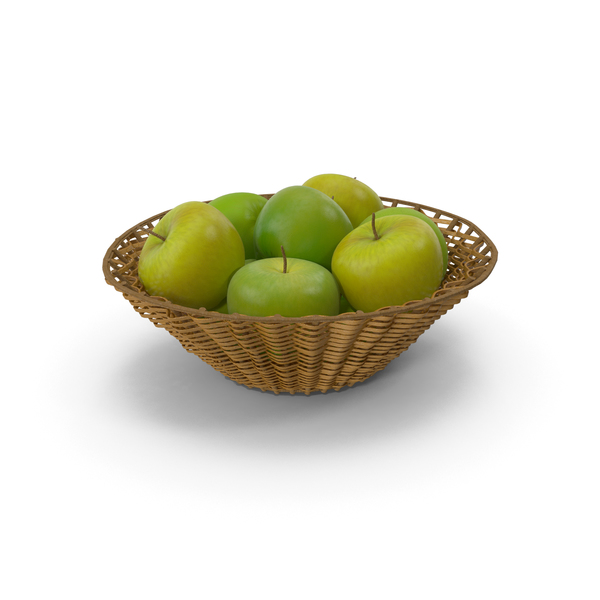 Wicker Basket with Green apples PNG & PSD Images