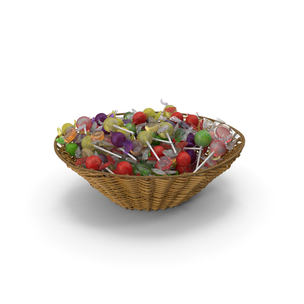 Wicker Basket with Mixed Wrapped Hard Candy PNG & PSD Images