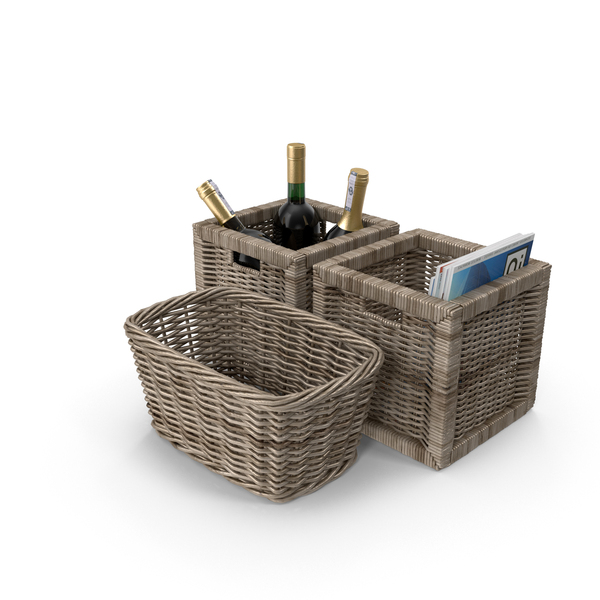 Wicker Baskets With Magazines and Wine PNG & PSD Images