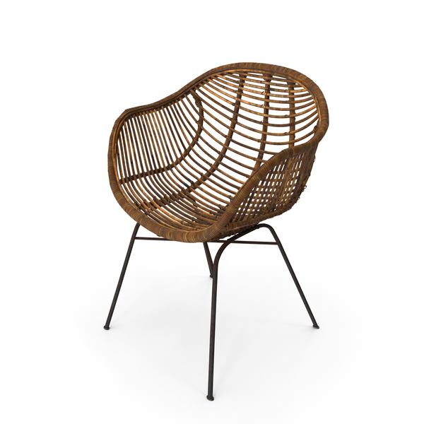 Outdoor: Wicker Chair Worn PNG & PSD Images