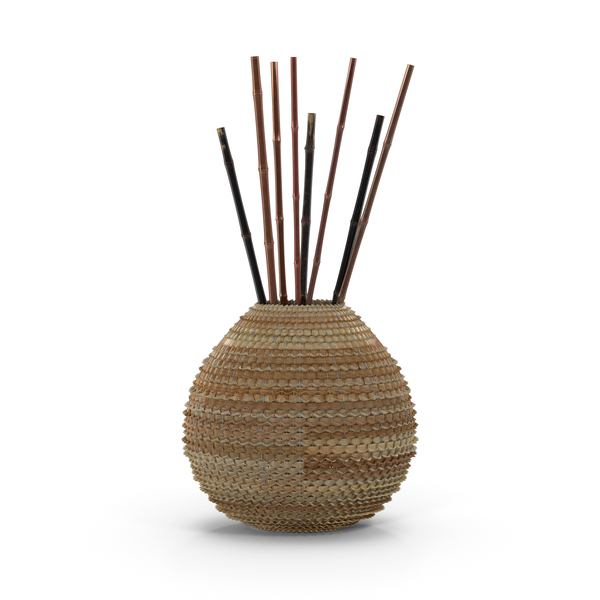 Wicker Vase with Sticks PNG & PSD Images