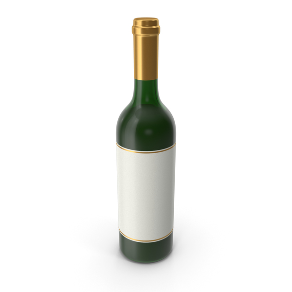 Wine Bottle Gold with White Label PNG & PSD Images