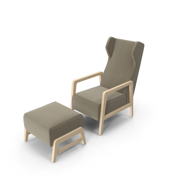 Wingback Chair And Footrest PNG & PSD Images