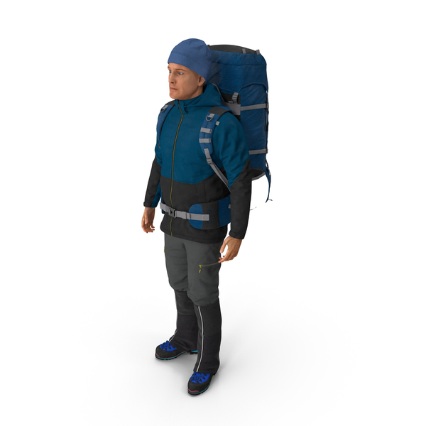 Boots: Winter Hiking Clothes Men with Backpack Standing Pose PNG & PSD Images