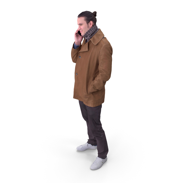 Winter Man Posed with Cellphone PNG & PSD Images