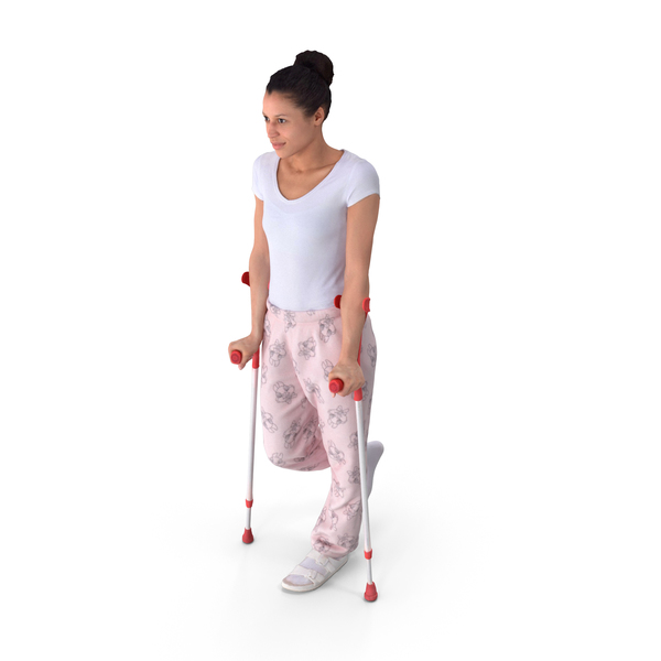 Woman On Crutches PNG & PSD Images