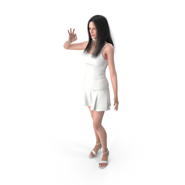 Woman Shows OK Gesture PNG & PSD Images
