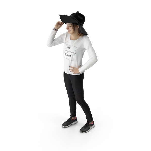 Woman Standing with Hat PNG & PSD Images