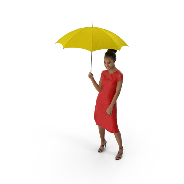 Woman Standing with Umbrella PNG & PSD Images
