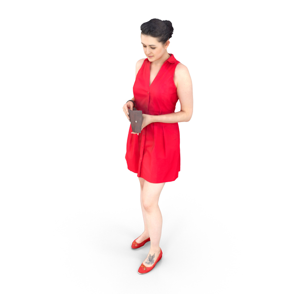 Woman Standing with Wallet PNG & PSD Images