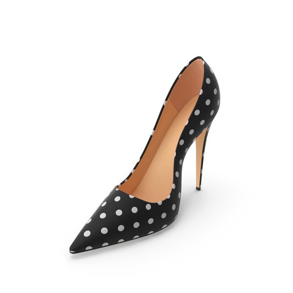 Women's Black Shoes White Polka Dots PNG & PSD Images