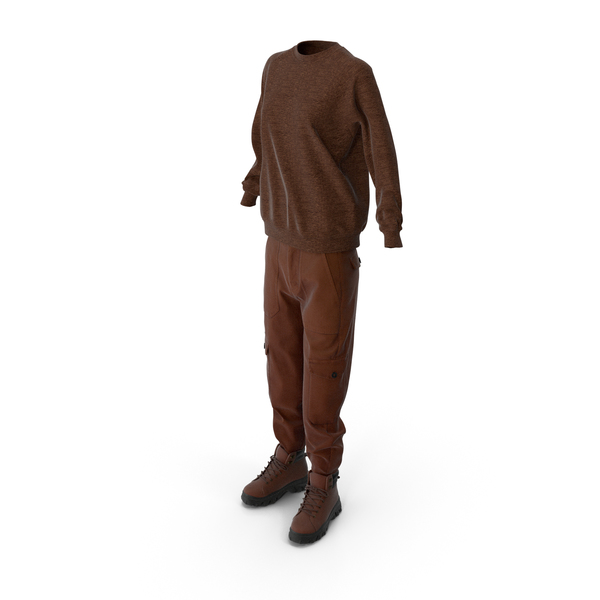 Women's Boots Pants Pullover Brown PNG & PSD Images