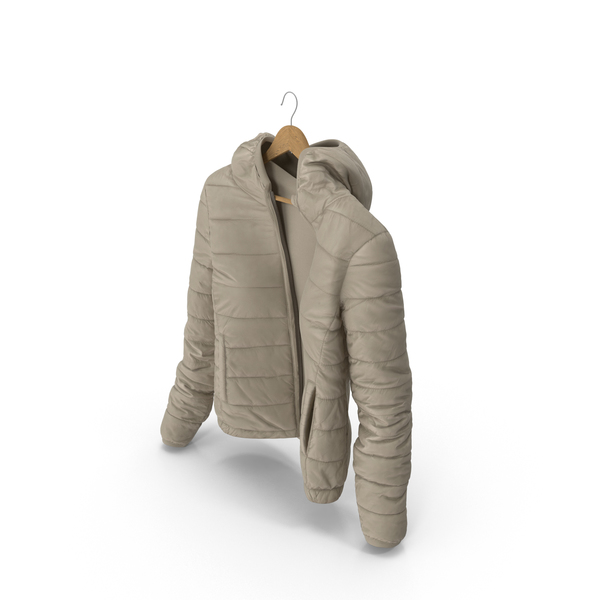Women's Down Jacket On Hanger Beige PNG & PSD Images