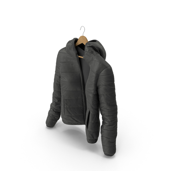 Women's Down Jacket On Hanger Black PNG & PSD Images