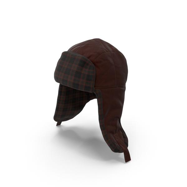 Knit Cap: Women's Ear Flap Hat Brown Tartan PNG & PSD Images