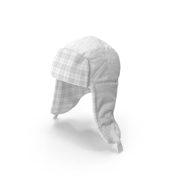 Knit Cap: Women's Ear Flap Hat White Tartan PNG & PSD Images