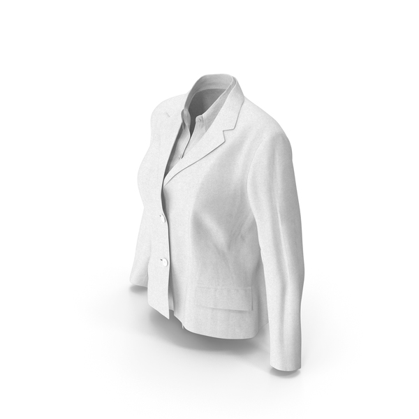 Women's Jacket With Shirt White PNG & PSD Images