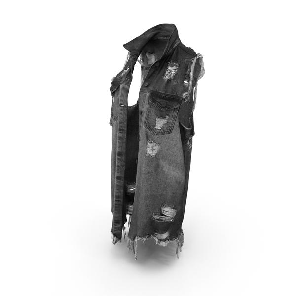 Women's Jean Vest Dark Gray PNG & PSD Images