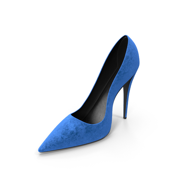 Shoes: Women's Right Blue Suede Shoe PNG & PSD Images