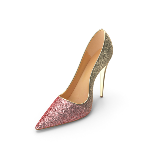 Women's Shoes Gold Pink PNG & PSD Images